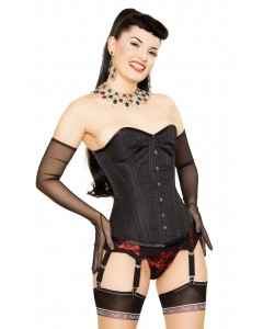 Playgirl Steel Boned Black Shadow Stripe Corset