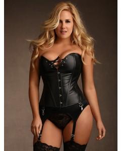 Plus Size Jules Steel Boned Black Leather Corset