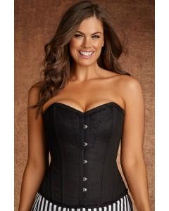 Plus Size Lilith Vintage Black Lace And Cotton Steel Boned Corset