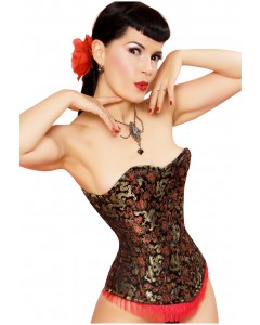 Playgirl Steel Boned Black & Red Dragon Brocade Corset