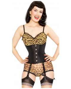 Playgirl Steel Boned Taffeta Black Cincher Corset