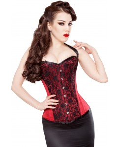 Playgirl Red Duchess Satin Corset With Opulent Lace Overlay