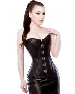 Playgirl Long Black Leather Overbust Steel Boned Corset