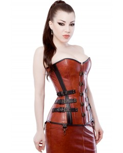 Playgirl Long Brown & Black Leather Overbust Buckles Corset