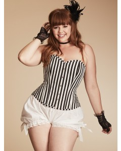 Plus Size Paloma Striped Cotton Steel Boned Corset