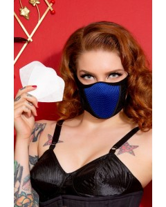 3 Royal Blue Cotton & Lycra Breath Easy Face Masks With HEPA Filter